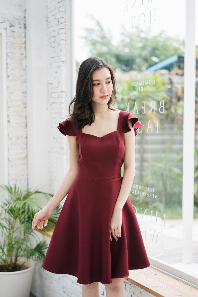 475debcd74 party Dress Dark Maroon Dress Prom Dress Bridesmaid Dress Ruffle Summer  Elegant - Designer ameliadress