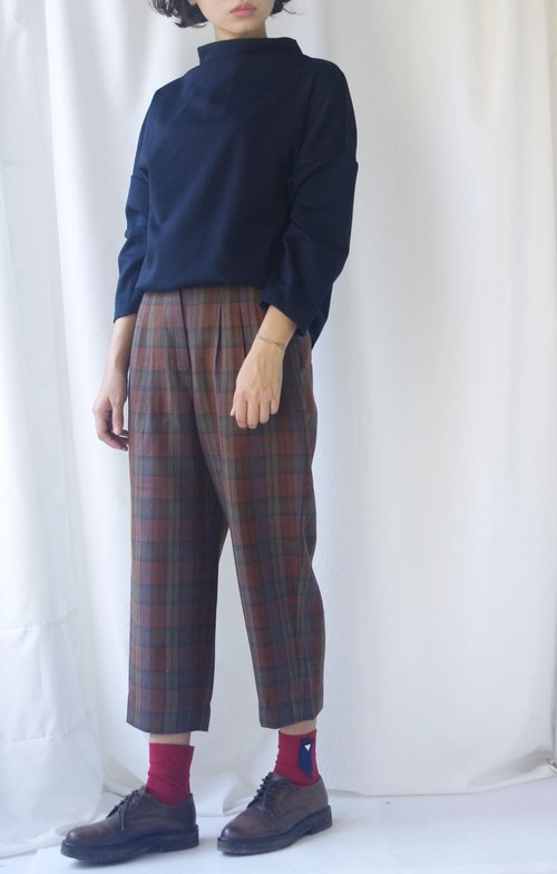 4.5studio- vintage treasure hunt - Vintage British Red Plaid classic high waist pants