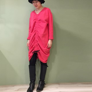【Dress】 Drawstring dress before and after _ pink