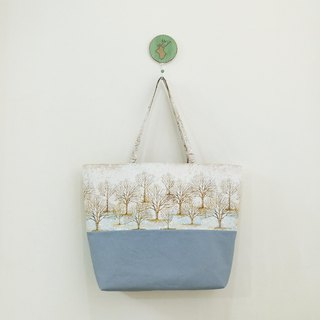 Outing American Cotton Leisure Tote Bag Shopping Bag Silver Snowflake + Blue