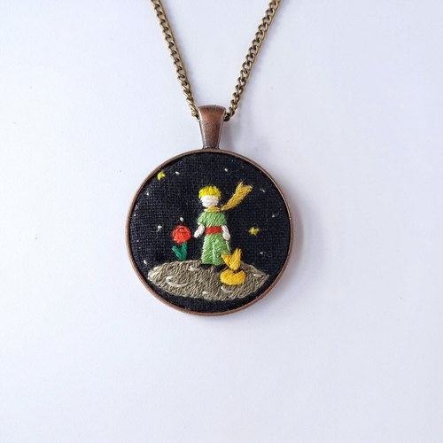 B612 The Little Prince Planet: hand-embroidered necklace