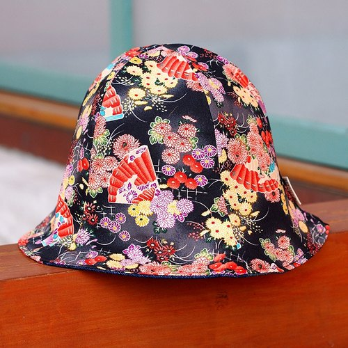 Calf Calf Village Village manual duplex visor cap hat men Japanese ukiyoe Japanese flower fan dance {} black gradient [H-71]