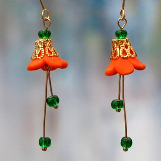 Flower Dancing Series Earrings . Brass 14kgf . Orange . Gift for Her