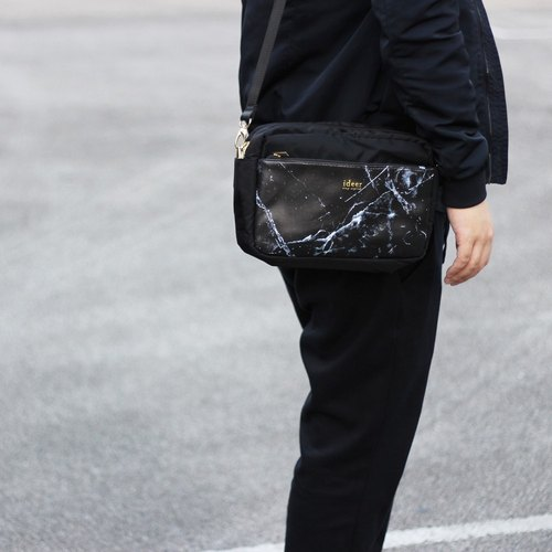 【Time Limit Offer】 Kayton Black Marble Pattern Black Marble Leather Texture Waterproof Nylon Side Back Bag Bags Dual Camera Bags