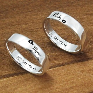 Customized and merged pattern lettering + Anniversary sterling silver made for ringers (two rings)-ART64