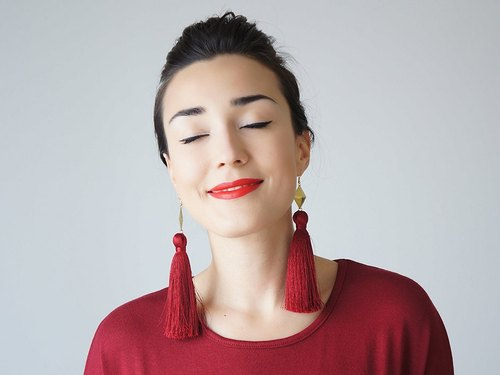 Romantic wine red lace fringed elegant dinner party exaggerated long earrings two kinds of lengths Irresistible Elegance original and creative wedding handmade wedding jewelry CHATIO | Turkey Hand brand epuu from Turkey Customizable Valentine's Day Chr