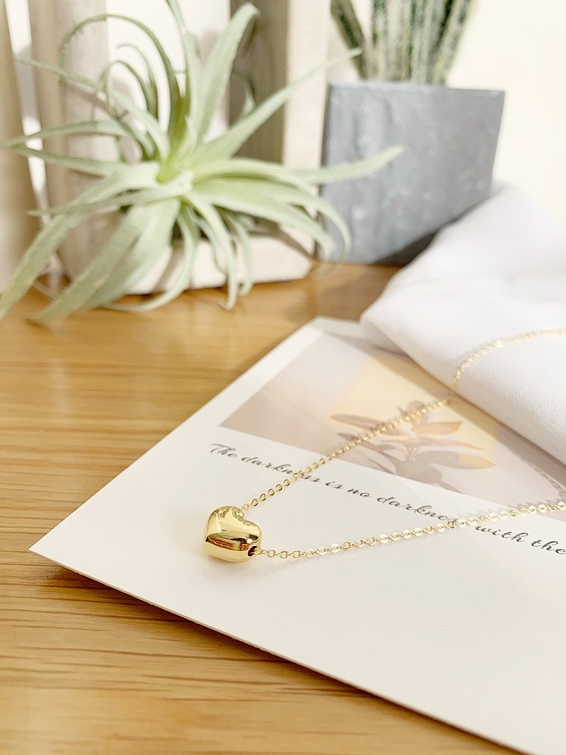 Washable 18k Gold Necklace-Heart Beans Customized Simple Valentine's Day Gift Bo