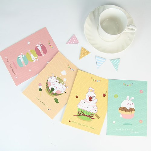 i mail postcards - bunny girl stomach series kit (total of four) - Rabbit tea dessert cake blessing gift card