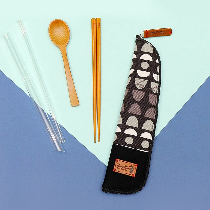 獨創布花 棉麻餐具袋::黑水玉:: (水玉迷宮)環保餐具/交換禮物