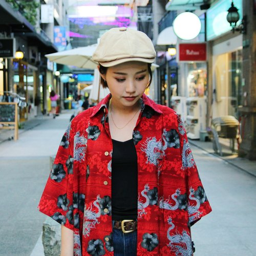 Tsubasa.Y ancient house red dragon dish hibiscus and handle flower shirt, Japan Print Shirt