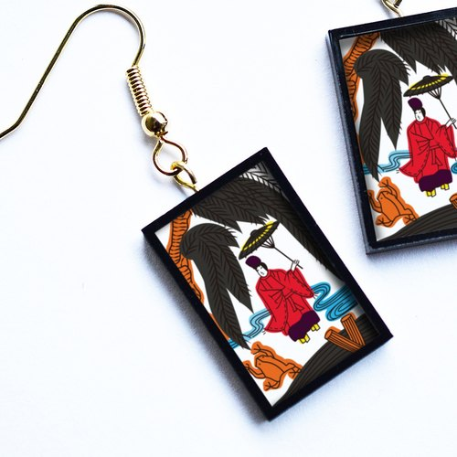 "花札ピアス / イヤリング「小野道風」 (Japanese Playing Card Pierce/Earring ""Onono Michikaze"")"