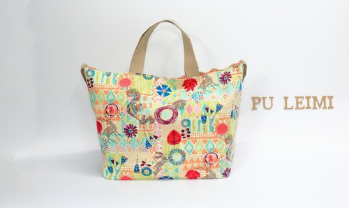 Pu. Leimi Japanese hand made in Japan cotton graffiti forest dual-use package portable shoulder / tote bag / shoulder bag / handbag