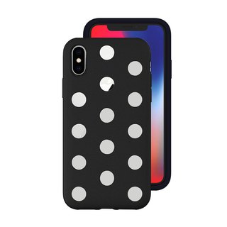AndMesh-iPhone Xs Dot Double Layer Anti-collision Cover - Black (4571384958561