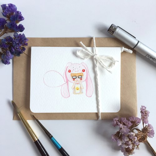 "Noemo 100% hand-painted greeting cards cards - Drawing to create a ""rabbit Usagi"""