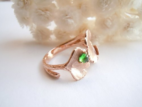 Everlasting love of Ginkgo Tsavorite | Natural Tsavorite 18K rose gold original design exclusive ring | Salina Ma