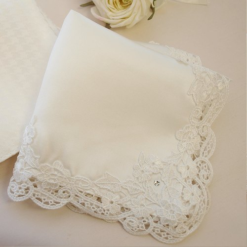 Wedding silk handkerchief [bride handkerchief Grace] Crystal Stone