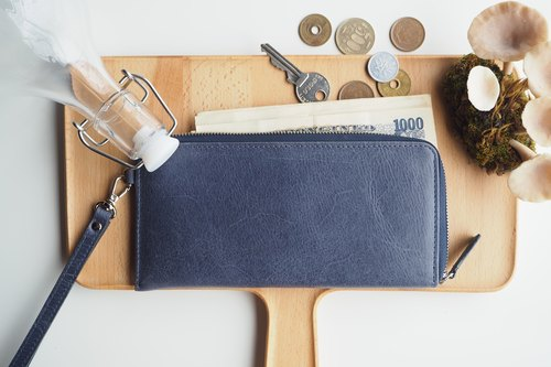 Long Dries Zip Wallet (Plain) - Navy Blue