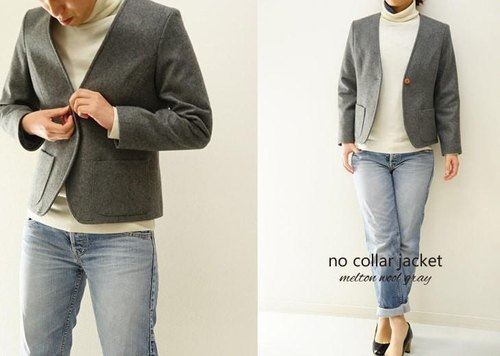 Heavyweight Melton wool (wool) no color jacket backed / gray b19-4