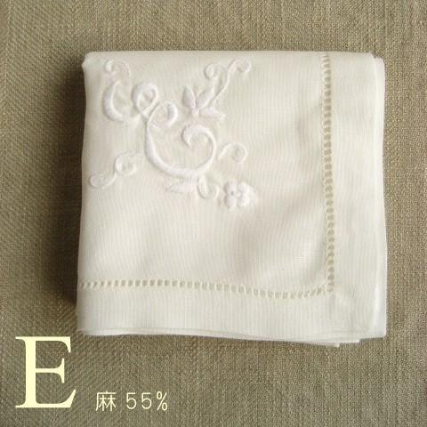 "favor-POCO [linen blend] hand-embroidered initials handkerchief ""E"""