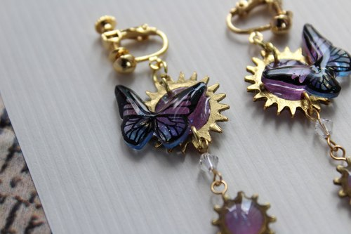 Magic stone and hand paint butterfly earring