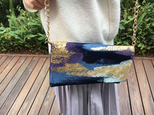 Gold Purple Blue | Abstract Art Clutch
