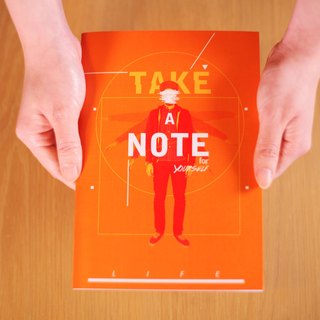 Deerhorn design / antlers LIFE your life orange notebook