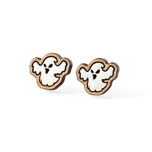 『TienTien』Painted wood earrings-Halloween ghost (white)