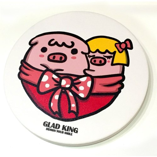 QQ pink ceramic pig love LOVE- water coaster