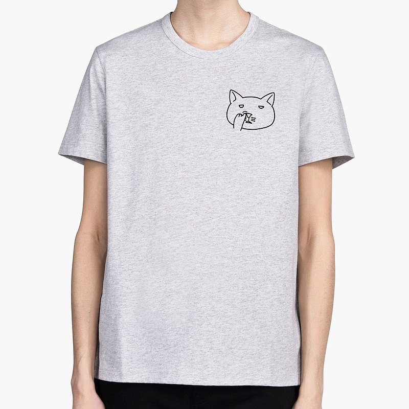Pocket Nose Picking Cat gray t shirt