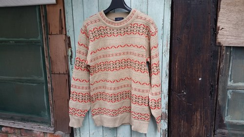 AMIN'S SHINY WORLD Vintage earth tones of orange knit sweater national totem