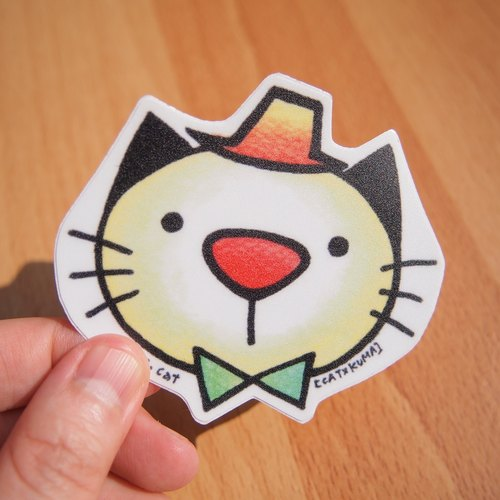 CATxKUMA waterproof stickers - cat in a daze