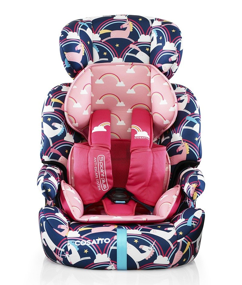 Cosatto Zoomi Highback Booster Car Seat With Harness Magic Unicorns 5 Point Plus