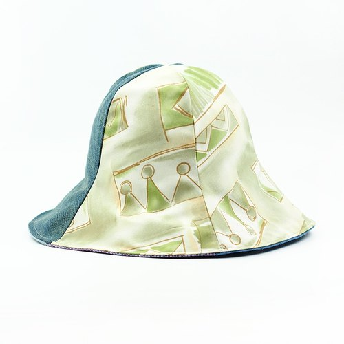 Maverick Village Calf Village Handmade Double-sided Hat Customized Sunshade Hat Japanese Retro Ancient Cap [Asakusa Castle] [H316] Rare Cubes