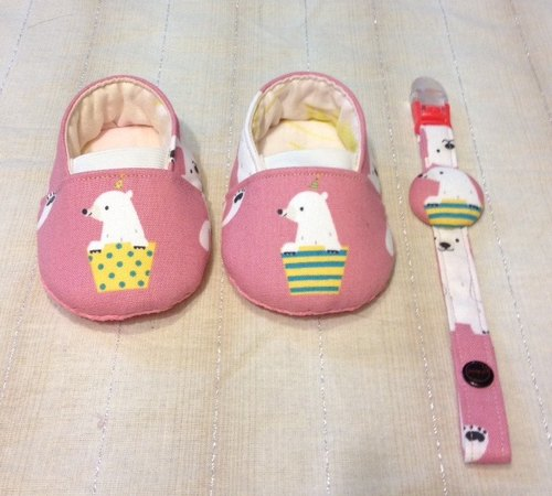 Call me great treasure! Polar bear pink baby toddler shoes, indoor shoes (including the pacifier clip)