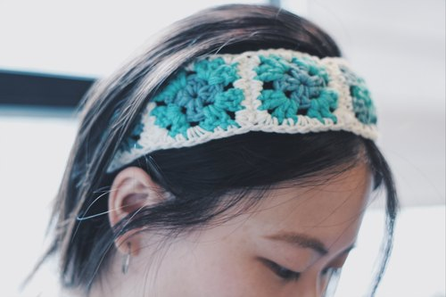 (Lake Green) Wenqing hook woven grandmother grid retro style headband / hair band - hand production