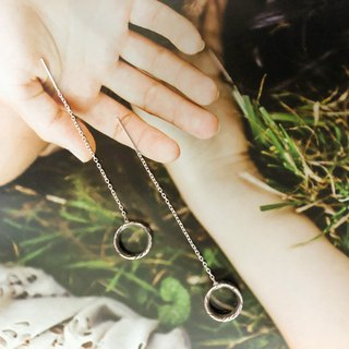 //Small stone // Wooden eye gold earrings ear chain ear wire limited pair