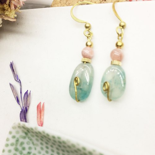 Laolin grocery Travelin natural stone brass earrings Tanglin stone / Meng mine Ling Er hook l ear acupuncture l ear clip