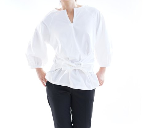 Linen mixed stretch waist ribbon raglan tops / white t13 - 6