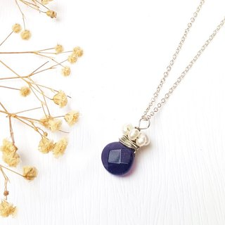 <Pet Love Series - Forever> Amethyst Faceted Pearl 925 Sterling Silver Necklace Customized Gift