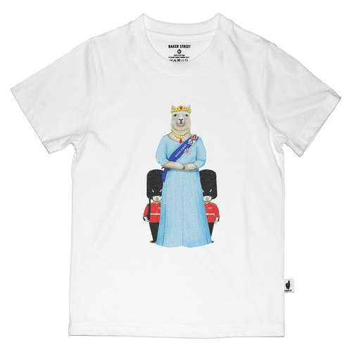 British Fashion Brand [Baker Street] Queen of Alpaca Printed T-shirt for Kids
