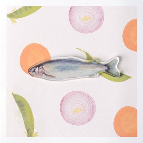 NoMatch substandard design transparent acrylic brooch printing markets salted fish