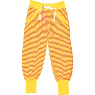 [System] Swedish Lovelybaby organic cotton striped trousers elastic cuffs yellow (for 6M-8Y)