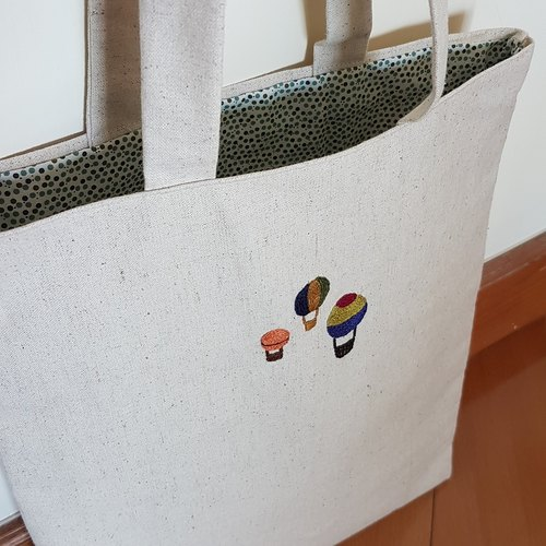 Hot Air Balloon Hand Embroidered Tote Pack Shoulder Bag