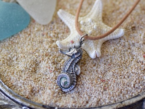 Seahorse ball pendant emerald leather straps Necklace