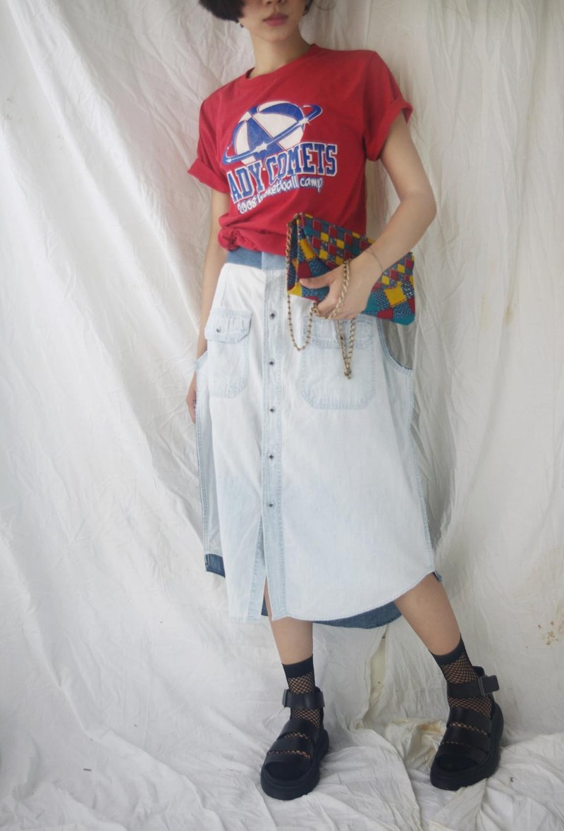 [R;] style transformation of ancient - two-color stitching eyeball denim skirt