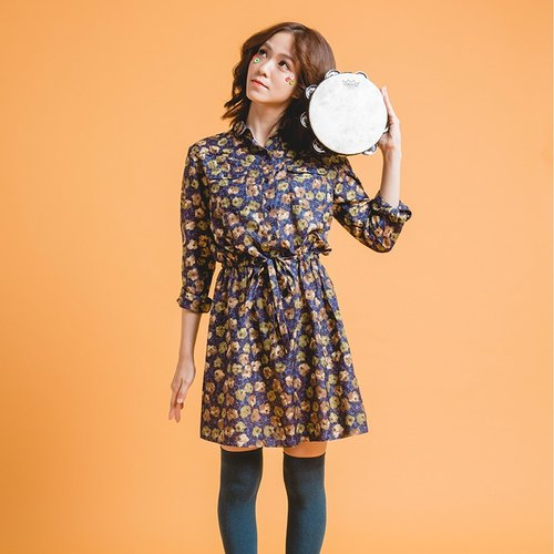 Vying bloom - Retro flowers double pocket silk tunic dress shirt