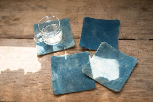 Sky | Indigo fabric coasters | set of 4