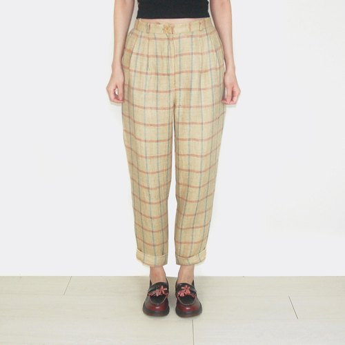 Light yellow plaid burlap vintage high waist trousers AS1015