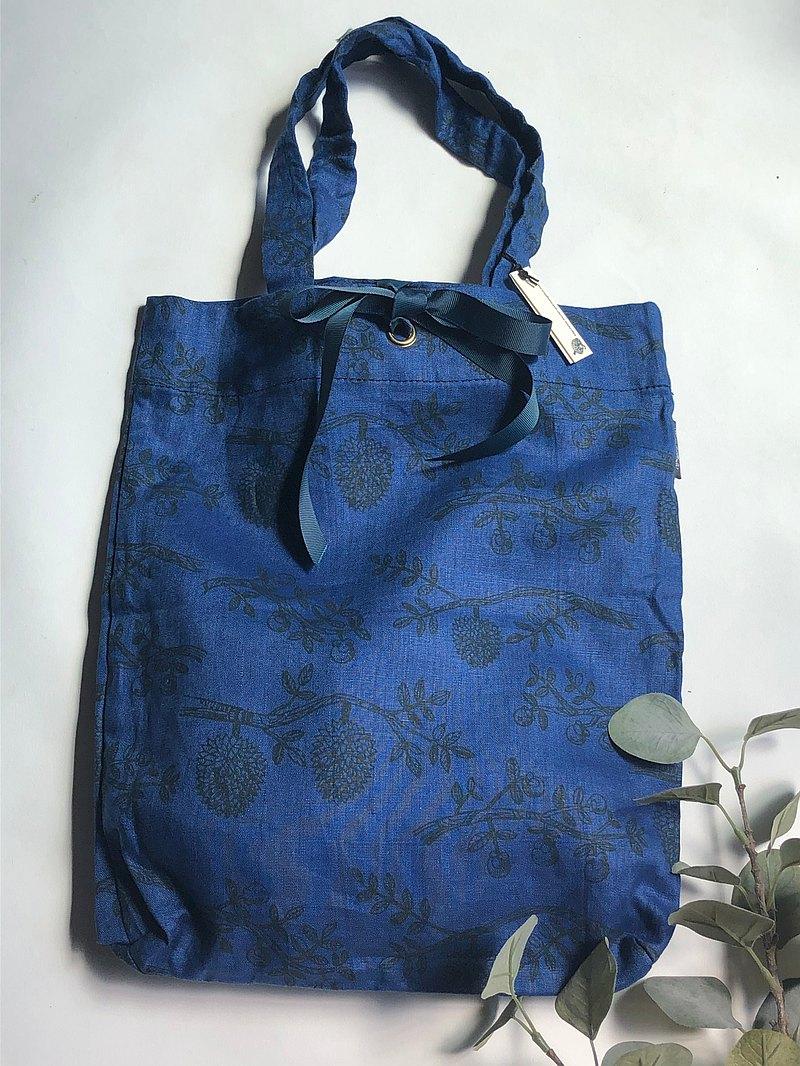 亞麻印花托特包M尺寸寶藍色