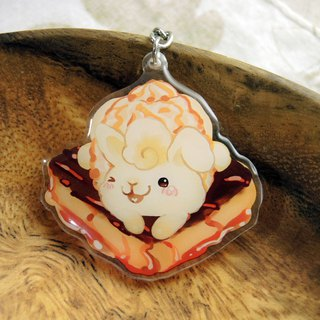 Acrylic Double Sided Charm - Toast Rabbit - Chocolate